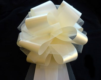 6 Large Ivory or White Tulle Pew Pull Bows Church Wedding Decorations Party