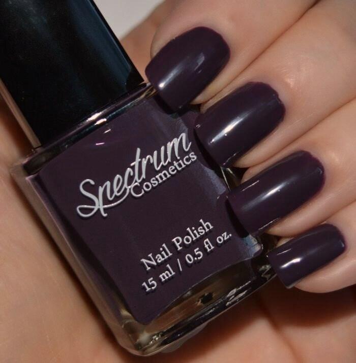 Spectrum Holographic Nail Polish: SALEM Purple Eggplant Creme Halloween Nail Polish From