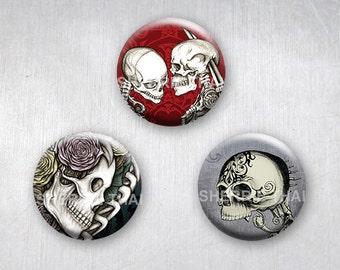 Floral Skull Pinback Buttons, Original Art Design, 1.25 inch, Set of 3
