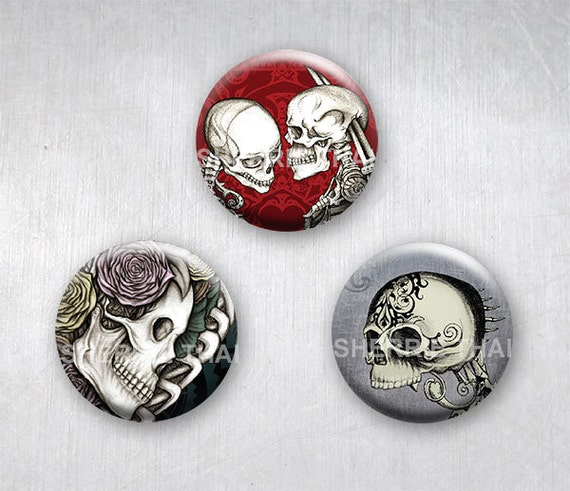 Floral Skull Art Magnets by Sherrie Thai of Shaireproductions