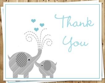 Elephant, Thank You Cards, Baby Shower, Sprinkle, Hearts, Boys, Blue, Aqua. 24 Folding Notes, FREE Shipping, LIPBL, Little Peanut