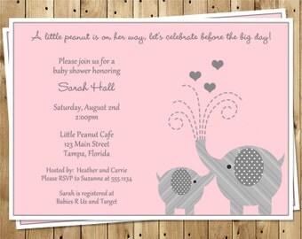Elephant Baby Shower Invitations, Little Peanut, Pink, Hearts, Polka Dots, Gray, Set of 10 Cards, FREE Shipping, LPNPK, Little Peanut Girls