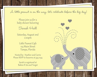 Elephant, Baby Shower, Invitations, Gray, Yellow, 10 Printed Invites with Envelopes, FREE Shipping, LTPGN, Little Peanut, Gender Neutral