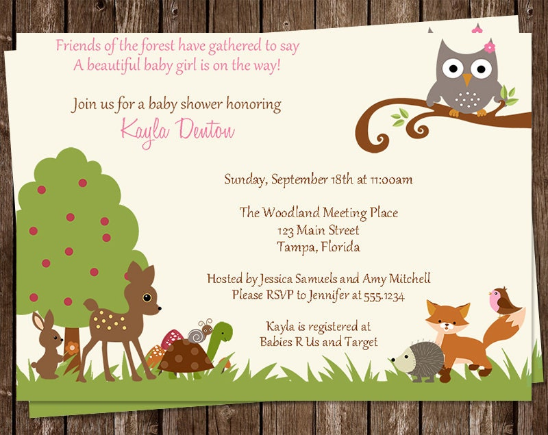woodland baby shower invitations pink animals owl fox