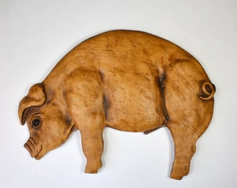 Vintage Pig Wall Hanging, Alpha Rez Rustic Pig Decor, Whole Hog, Pig Wall Plaque, 1980s 1983