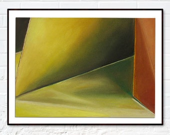 Original Pastel Drawing, Shades of Yellow Geometric Shapes and Light Reflections, Rives BFK Paper, 19''x15''