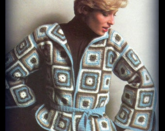Crochet Granny Square Sweater Jacket Pattern - Women Size 8 10 12 14 16 - PDF 4326D
