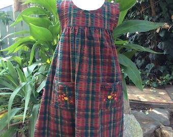 Vintage Samara Plaid Dress- Fall- Thanksgiving- Kids Size 6