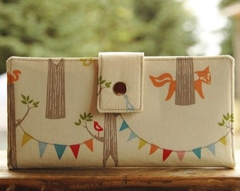 Ready to ship Organic Handmade vegan womens wallet in bunting and fox