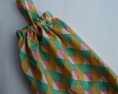 Plastic Grocery Bag Holder Green Gold and Tangerine Geometric Fabric