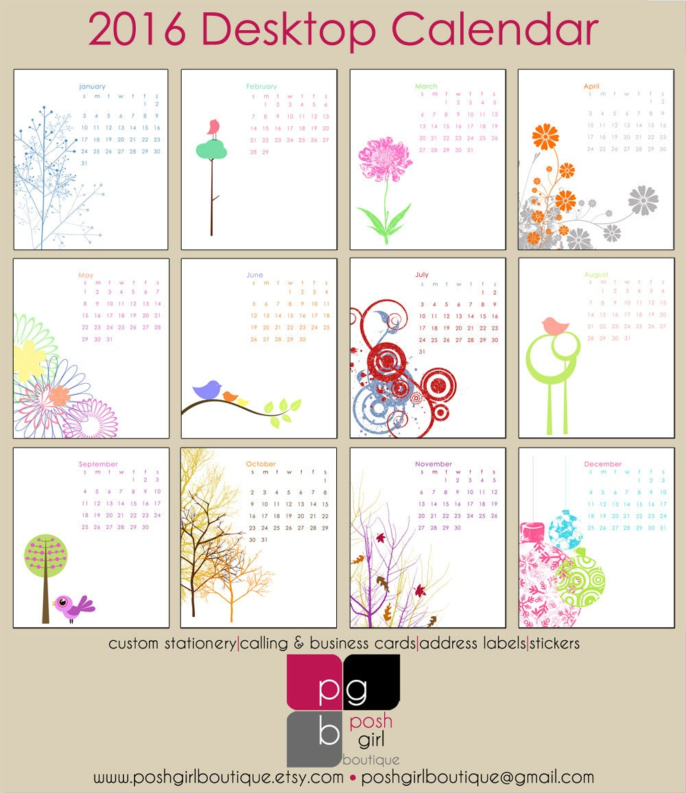 2016 Mod And Retro Cd Case Desk Calendar By Poshgirlboutique