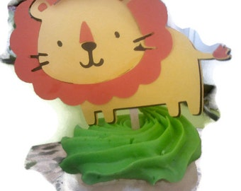 Lion cupcake toppers or lollipop favors for zoo themed baby showers or birthday parties