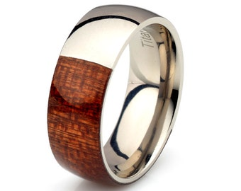 wooden ring half way titanium mahogany wood band 8mm titanium ring domed polished