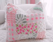 SWEETEST LILLY PULITZER And Vintage Chenille Patchwork Pillow Sham Pink Daisy
