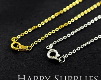"""5 Pcs Nickel Free -  High Quality Golden/ Silver Plated Long Chain Necklace ,16"""" / 18""""/ 30"""" Length Optional  (W104-B)"""