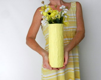 Yellow cylinder Vase / lemonade Yellow home decor / handcrafted vase / yellow flower vase / large yellow vase