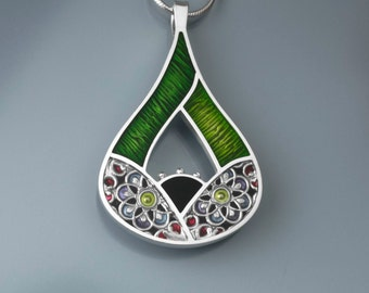 "Ivy Woodrose ""Fig"" sterling silver, pmc, and resin pendant"