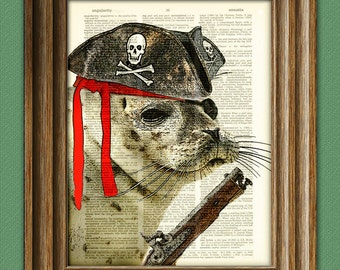 Swabbie the Seal is ready for his first pirate raid beautifully upcycled dictionary page book art print