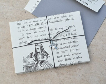 Alice in Wonderland Envelope and Card Set - Book Page Envelopes and Cards