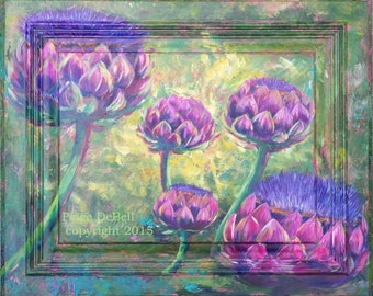 ARTICHOKES in BLOOM painted on a Cabinet Door** Great Colors