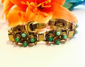 Beautiful Czech Art Nouveau Brass Green Peeking Glass Vintage Bracelet Art Nouveau Jewelry