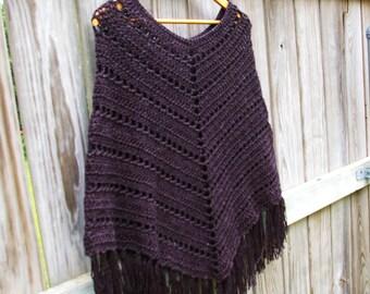 Boho Poncho, Crochet Poncho, in Black Marble