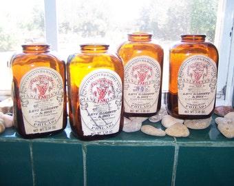 Vintage SNUFF JARS, Set of 4 Levi Garrett and Sons, Brown Amber Bottles, Tobacciana
