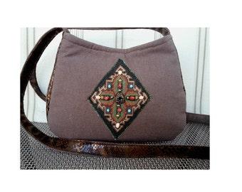 Native American Bag, Boho Crossbody bag, Hippy Purse, small Crossbody bag, Beaded Purse, unique purses, Vegan Handbag, RTS, Item #CJF77-1006