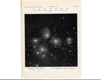 1910 PLEIADES CONSTELLATION PRINT original vintage celestial astronomy lithograph - constellation taurus