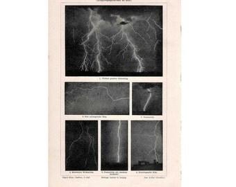 1889 LIGHTNING original antique weather lithograph print