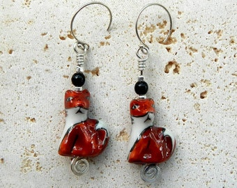 Ceramic Fox Earrings Sterling Silver and Black Agate