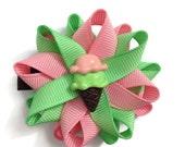"Ice Cream Hair Bows - Summer Hair Bows - 2.5"" Hair Bows - Handmade Hair Bows - Made To Order Bows - No Slip Hair Bows - Pink Green Hair Bows"