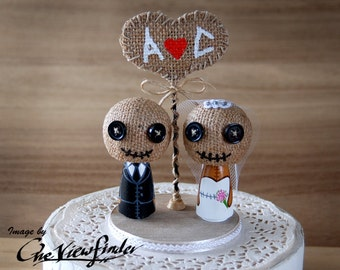 2.75 inches Customise Wedding Cake Topper with burlap heart, - voodoo dolls, skull, zombie. monster, creature, halloween
