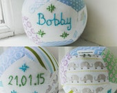 Personalised unique handsewn patchwork baby ball for baby boy christening gift toy rattle