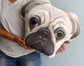 Pug Pillow XL Size,  dog pillow, READY to SHIP , gift for pug lovers