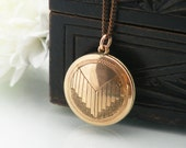 Rose Gold Vintage Locket | Art Deco Locket | 9ct Gold Engraved Locket | Round 9 Carat Rose Gold Two Part Locket - 20 Inch Chain Included
