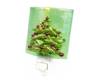 Night Light, Pine Green Stained Glass Christmas Tree, Holiday Decoration