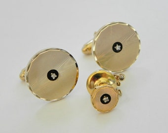 Anson Karatclad Cufflinks and Tie Tac Set. Moire Finish with Diamond Centers.