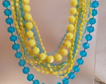 Vintage Aqua Blue Yellow Necklace. Multistrand Lucite Bead Necklace.