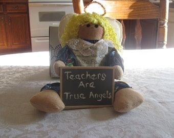Teachers Are True Angels Decorative Doll Teacher Angel Teacher Gift Christmas Angel Teachers are Angels Shelf Sitter Gift Present