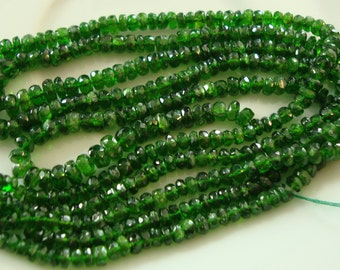 Natural Chrome Diopside Rondelle 7 Inch Gradual Size From 2mm to 5mm