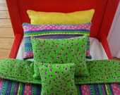18 in Doll Bedding, Fashion Doll Bed, 5 Pc Doll Comforter Set, 18 in doll, Bright Stripes and Lime, Toys, Dolls