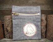 hand-embroidered denim zipper pouch: bird by kata golda