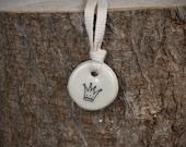 handmade ceramic pendant: crown by kata golda