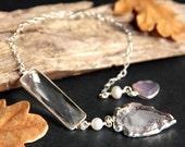 Crystal Quartz Pendulum. Sterling Silver Pendulum. Crystal Pendulum. Pink Chalcedony Pendulum. Spirituality Tool. New Age Metaphysical Tool.