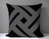 Black & Grey Outdoor Pillow Cover, Modern Pinwheel, Decorative Cushion Cover, Patio Decor, Sunbrella Throw Pillow Case, Mazizmuse