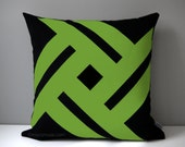 Black & Lime Green Outdoor Pillow Cover, Modern Geometric, Decorative Pinwheel, Throw Pillow Case, Macaw Sunbrella Cushion Cover