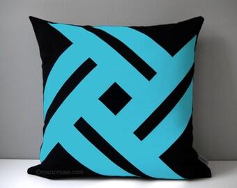 Black & Blue Outdoor Pillow Cover, Modern Geometric Pillow Case, Decorative Turquoise Pillow Case, Sunbrella Pillow Cushion Cover, Pinwheel