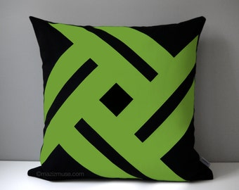 Black & Lime Green Outdoor Pillow Cover, Modern Geometric, Decorative Pinwheel, Throw Pillow Case, Macaw Sunbrella Cushion Cover