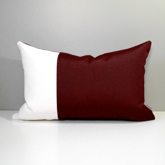 Burgundy Colored Throw Pillows : Burgundy Color Block Pillow Cover, Modern Outdoor Decor, Wine & White, Masculine Decorative ...
